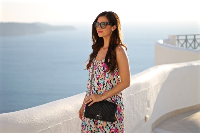 Pink, Black & Blue Digital Print Date Night Shift Dress and Rebecca Minkoff Black Crossbody Bag