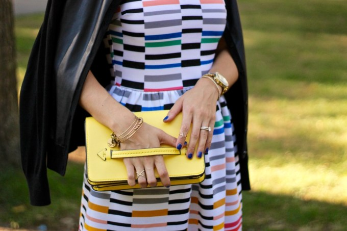Love...Ady Sleeveless V-Neck Graphic Scuba Fit & Flare Dress, Leather Panel Cardigan, La Mariposa Colorful Striped Dress, Yellow Clutch