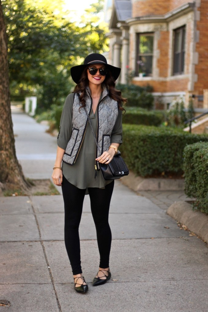 j Crew Factory Printed Quilted Puffer Vest in Herringbone, Lush New Olive Perfect Roll tab Sleeve Tunic, Black Felt Floppy Hat, Topshop Kingdom Ghillie Pointed Lace-up Flats
