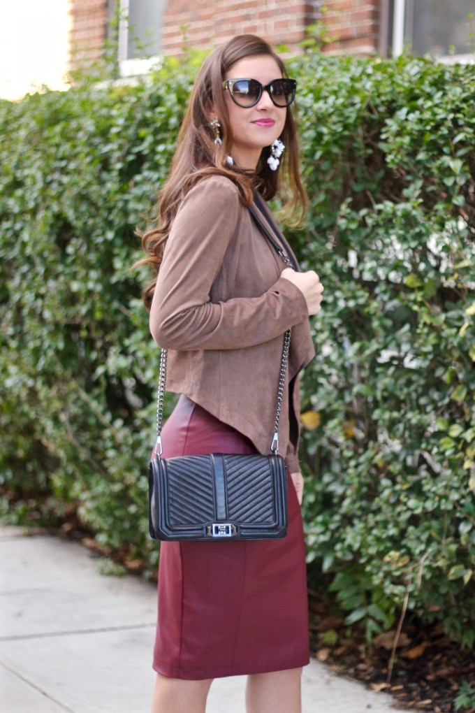 Mocha Suede Waterfall Jacket; Burgundy Red Leather Pencil Skirt; Black Rebecca Minkoff Chevron Quilted Crossbody
