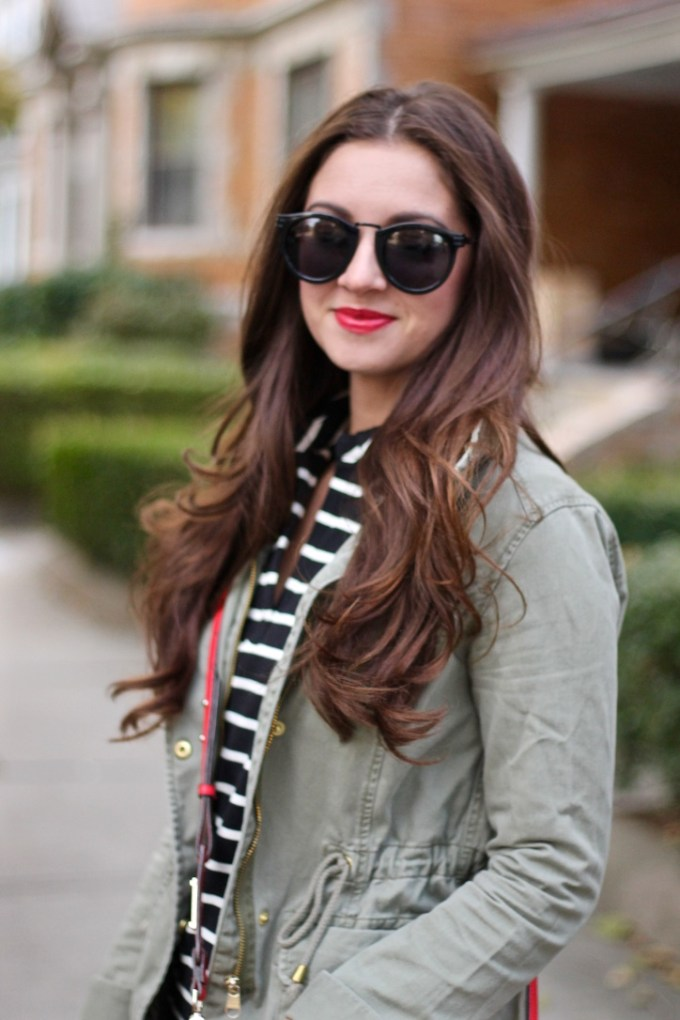Black and White Cotton Striped Shift, Green Army Jackets