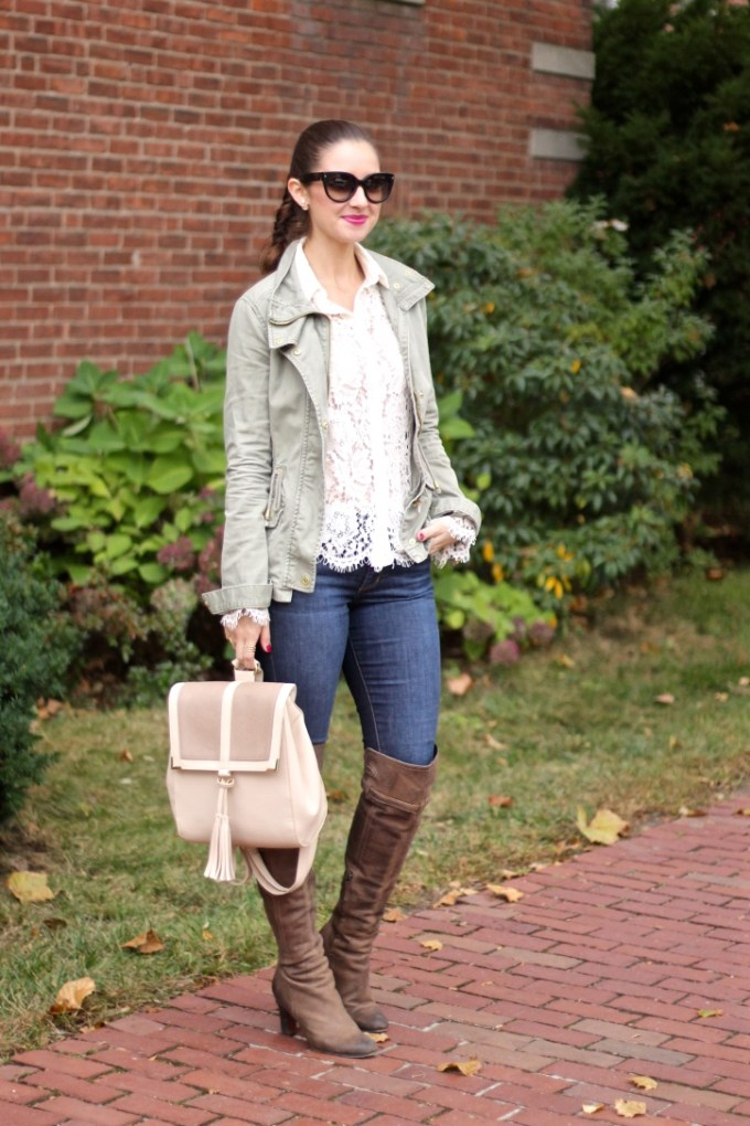 Lace and Army Green Anorak, Beige Backpack, Taupe OTK Boots