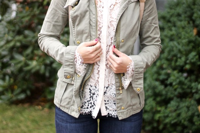 Lace and Army Green Anorak