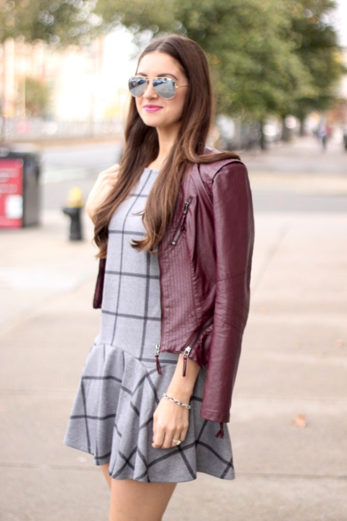 Grey Grid Print Widnowpane Drop Waist Dress, Burgundy Leather Jacket