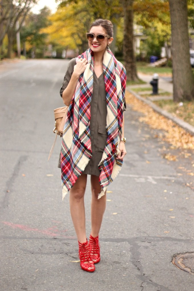 Green military Shirt Dress, Plaid Blanket Scarf, Red Lace-up Strappy Vince Camuto Narrital Heels