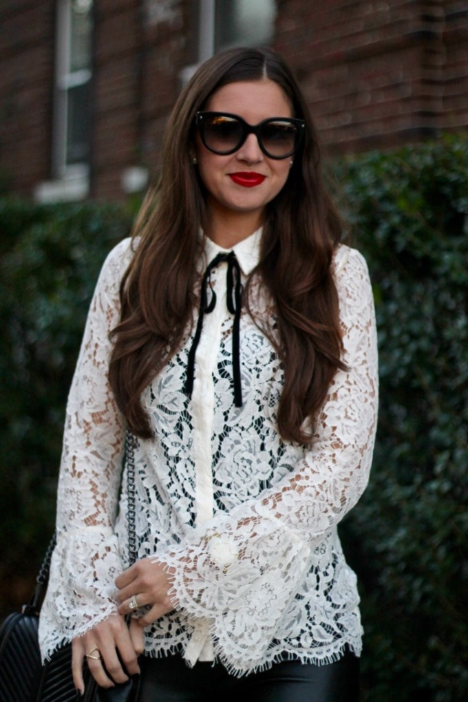 Primark Cream Lace Bell-Sleeve Blouse