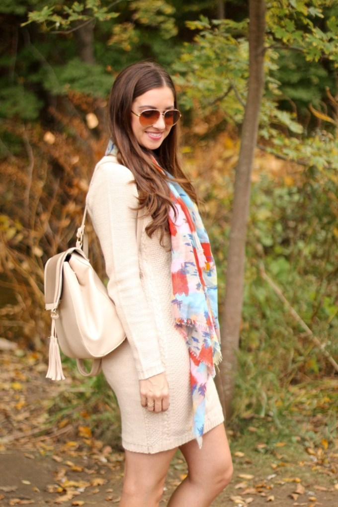 Beige Sweater Dress and Neutral Backpack