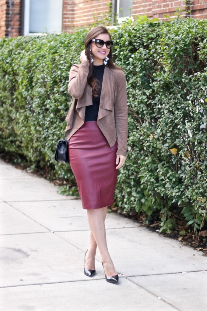 Mocha Suede Waterfall Jacket; Burgundy Red Leather Pencil Skirt; Black Steve Madden Proto Pumps