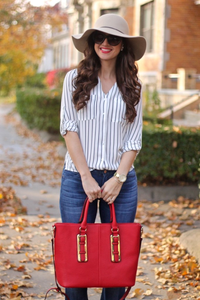Beige Floppy Hat, Striped Blouse, Red Tote