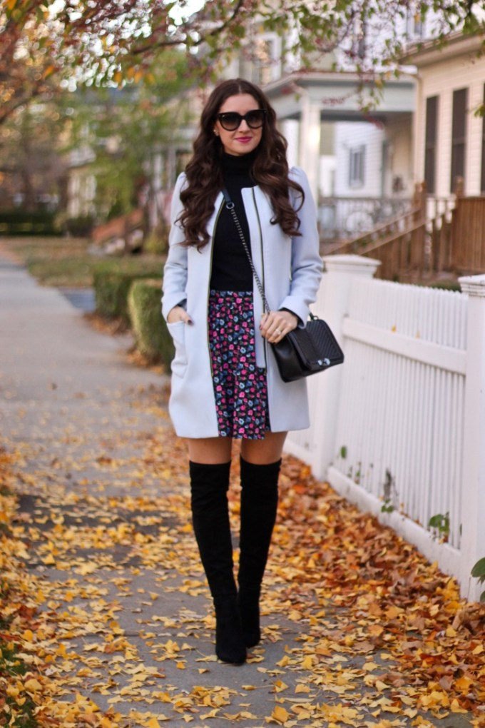 Powder Blue Coat; Floral Skirt' Black Suede Salena Over-theKnee Boots by Ivanka Trump