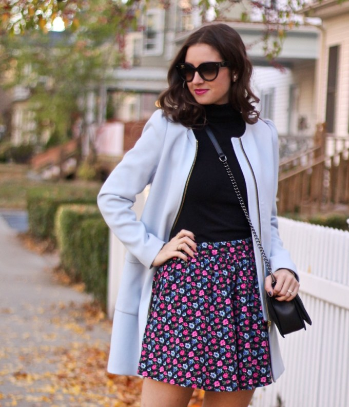Powder Blue Coat; Floral Skirt;