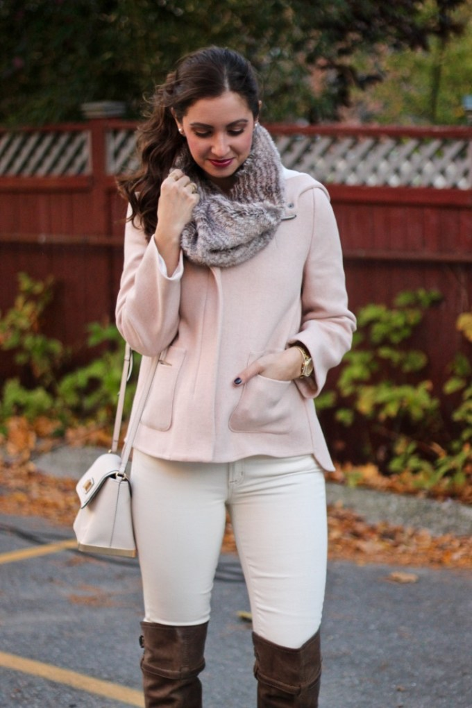 Zara Blush Wool Hooded Cropped Jacket; Sam Edelman Leather Tauep OTK Boots, Cream J.Crew Jeans, Charming Charlie Faux Fur Scarf Snood