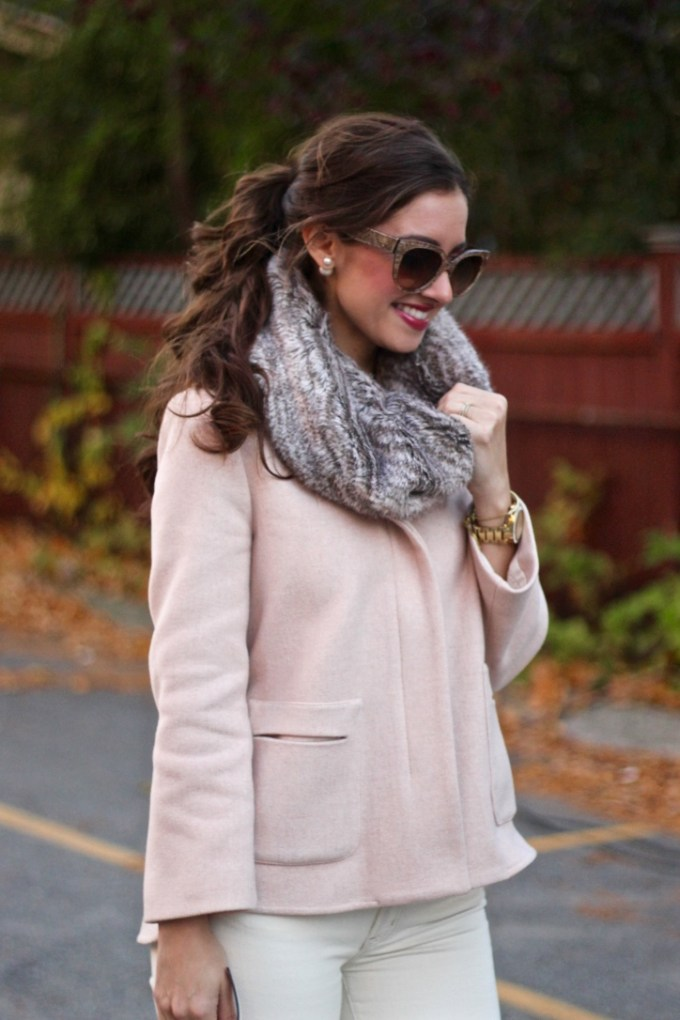 Zara Blush Wool Hooded Cropped Jacket; Faux Fur Scarf Snood