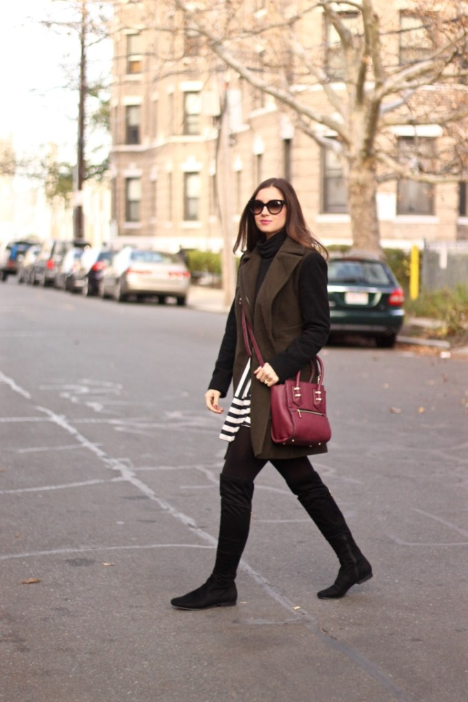 Olive and Black Contrast Sleeve Coat; Burgundy Madison West Crossbody Bag; Striped Fit & Flare Skirt, Black Suede OTK Boots