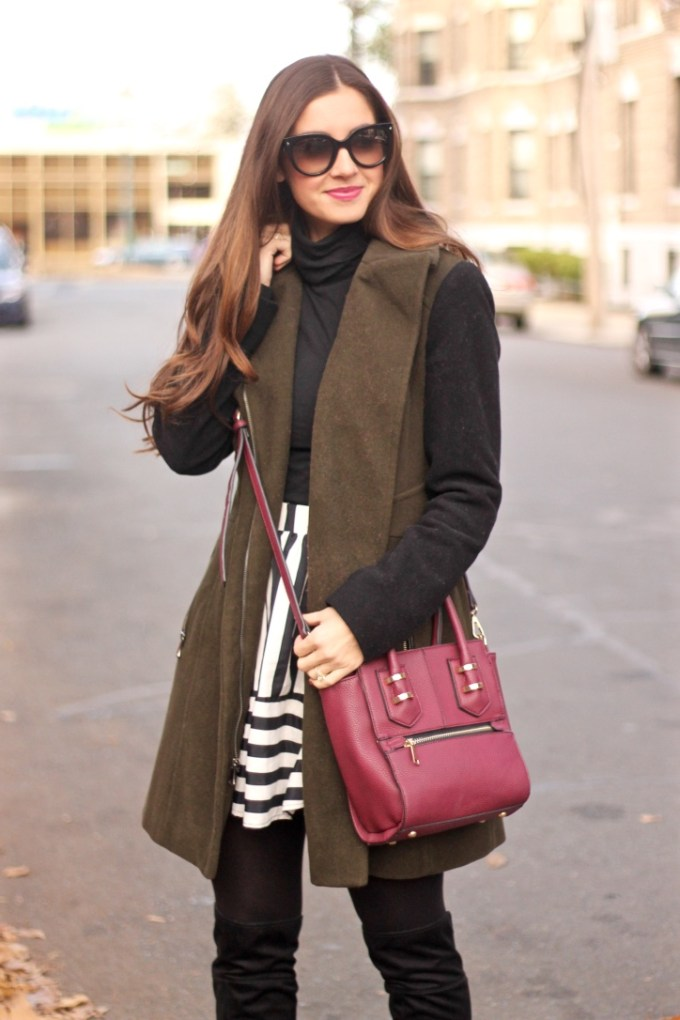 Olive and Black Contrast Sleeve Coat; Burgundy Madison West Crossbody Bag; Striped Fit & Flare Skirt