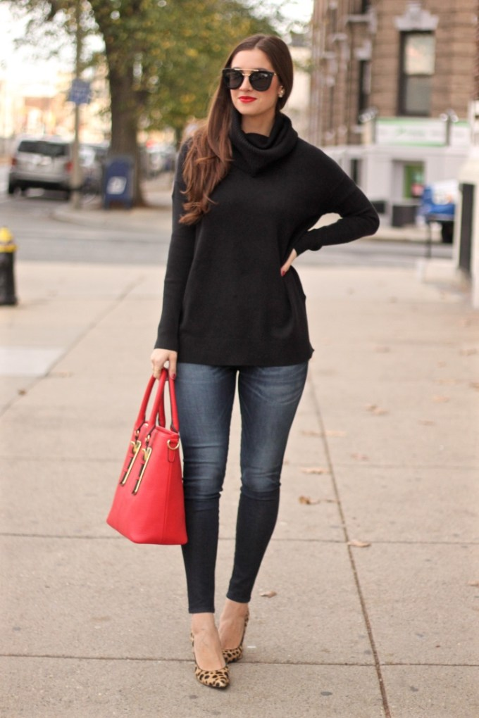 Black Oversized French Connection Sweater; Red Charming Charlie Pebbled Tote; Rag n Bone Zipper Jeans; Nine West Spotted Leopard Heels
