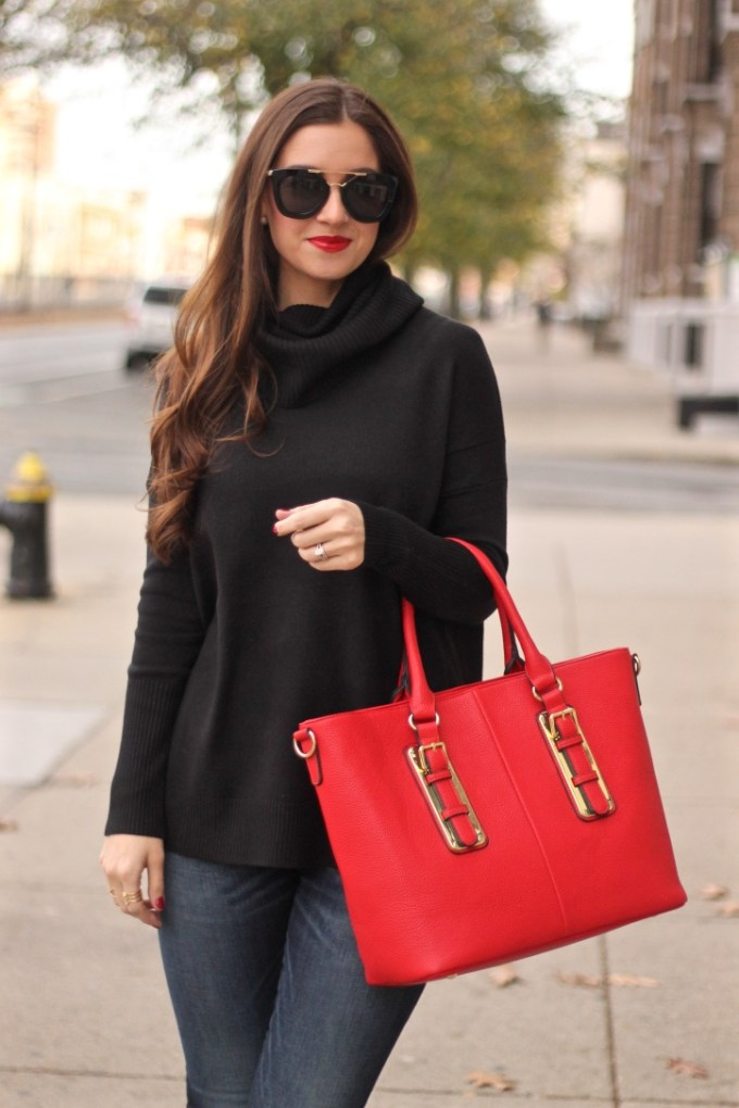 Black Oversized French Connection Sweater; Red Charming Charlie Pebbled Tote; Rag n Bone Zipper Jeans