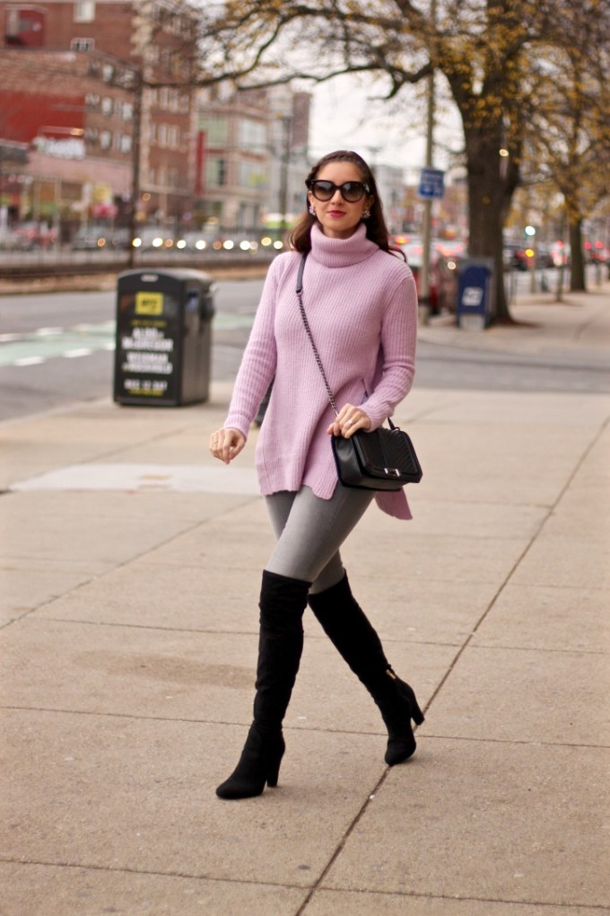 Asos Pale Pink Lavender High Side Slide Sweater, Rag N Bone Grey Skinny Jeans, Ivanka Trump Black Suede OTK Boots