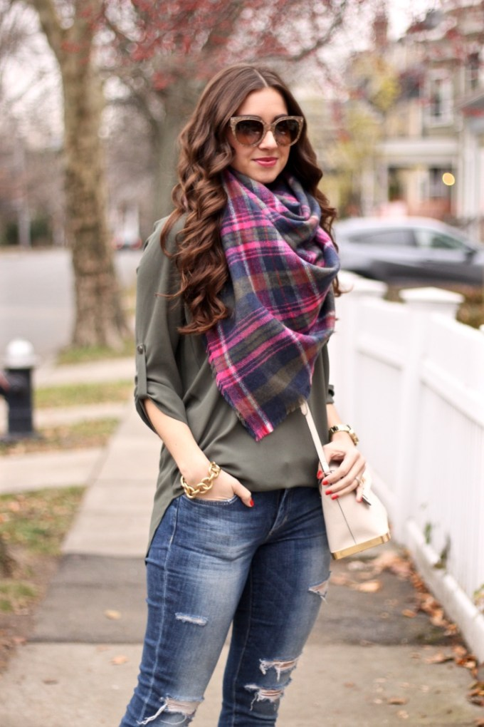 Lush Olive Green Roll Tab Sleeve Tunic, Joe's Ripped Girlfriend Jeans, Express Olive Green Plaid Scarf