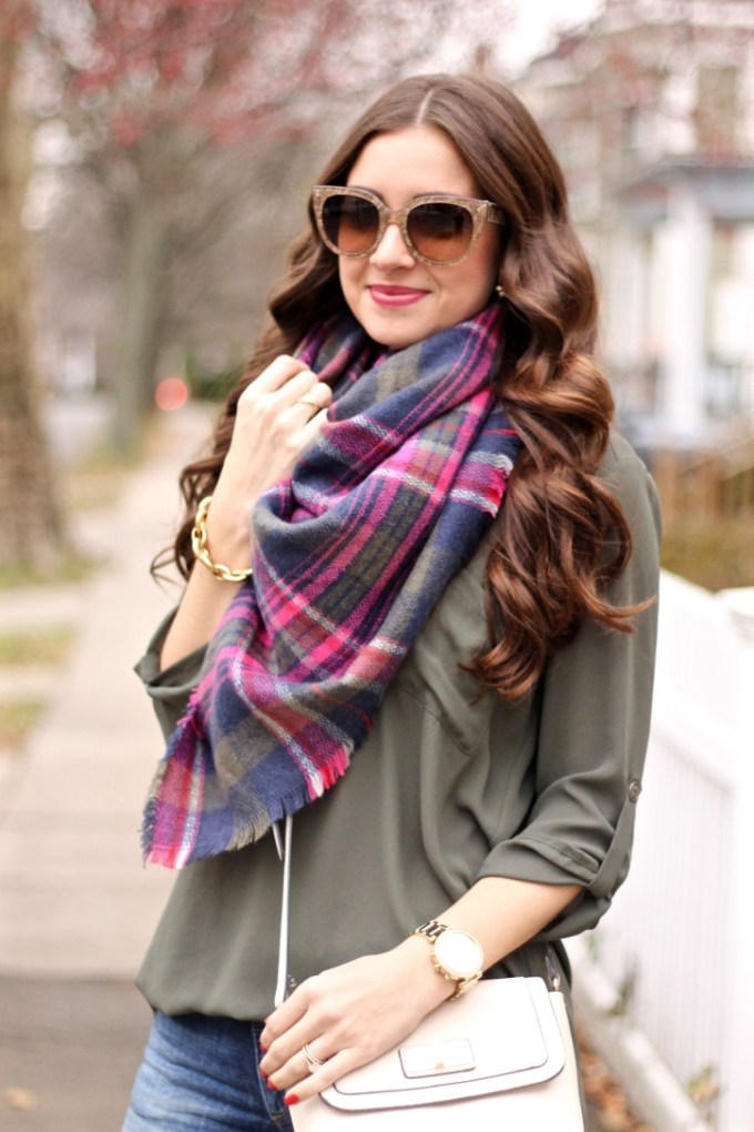 Lush Olive Green Roll Tab Sleeve Tunic, Express Olive Green Plaid Scarf