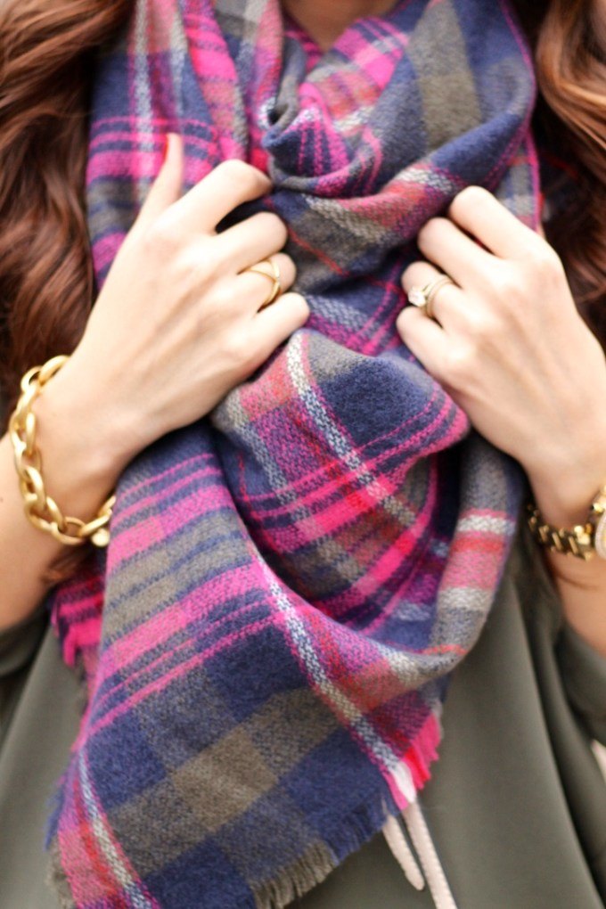 Express Olive Green, Pink, Navy Plaid Scarf