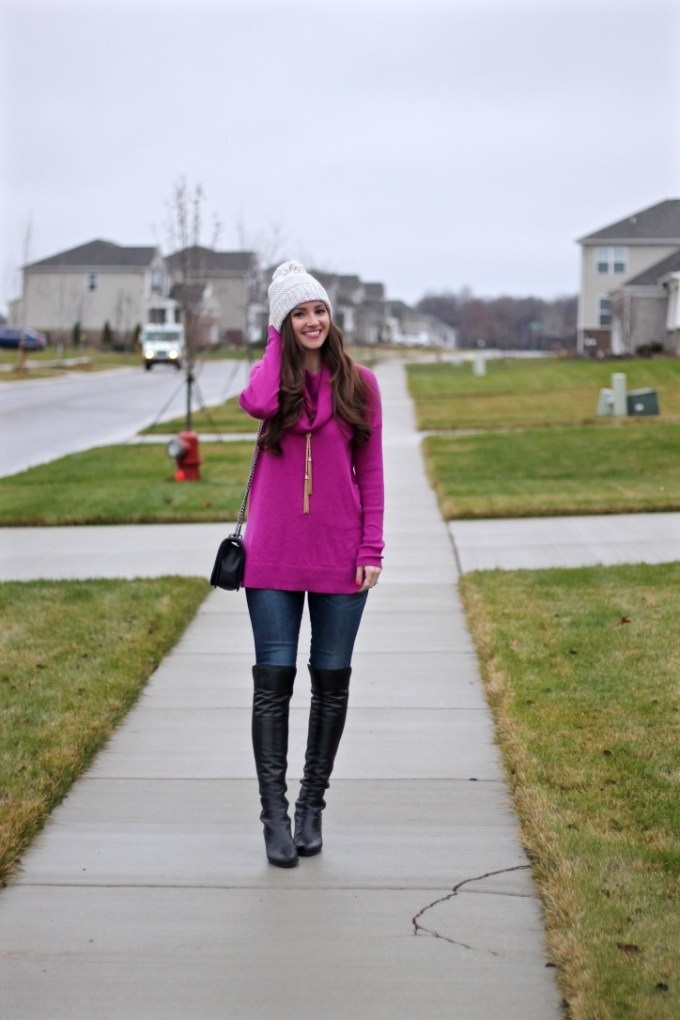 Caslon Pink Cowl Neck Sweater with multi-colored beanie pom hat and Stuart Weitzman leather Semi Boot