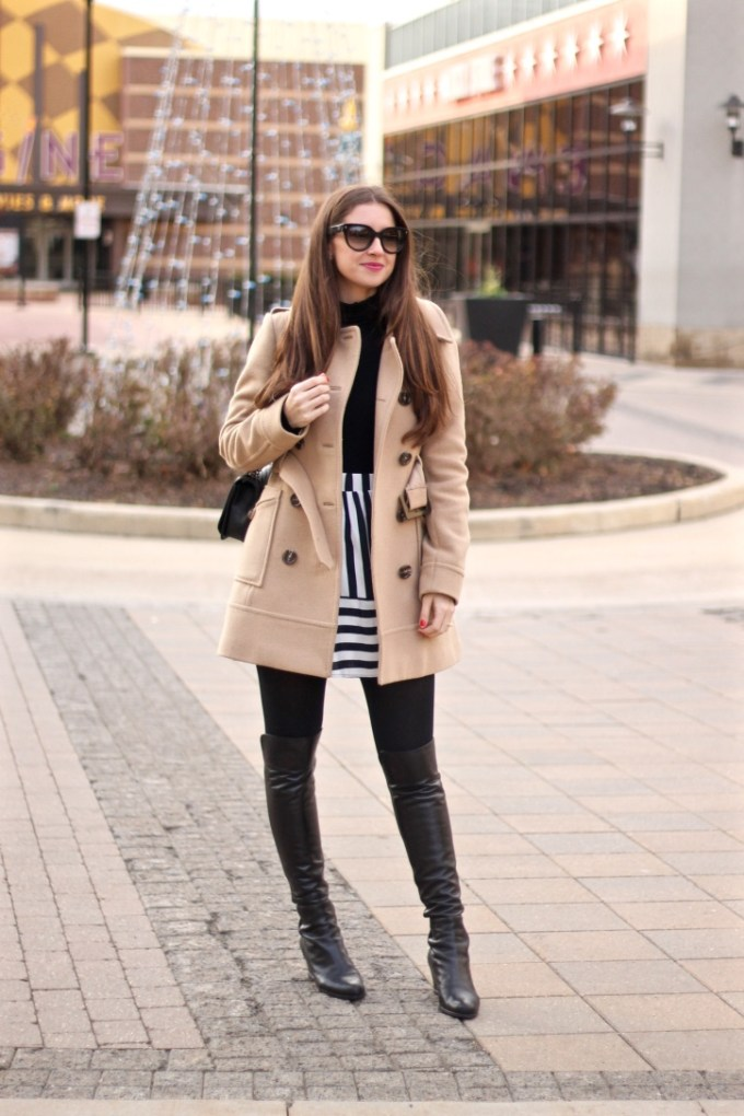 Double Breasted Camel Peacoat, Black and White Striped High-waisted Skirt, Stuart Weitzman Semi