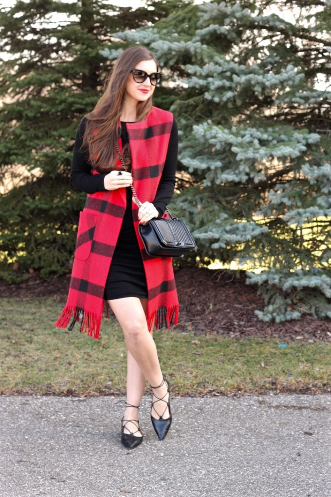 Helene Berman Checked Vest with Fringed Hem, Red Checkered Vest, Black Topshop Lace-up Flats