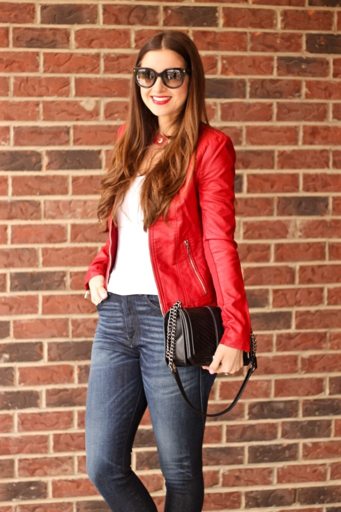 Express red (minus the) leather jacket; red leather jacket, casual leather jacket outfit