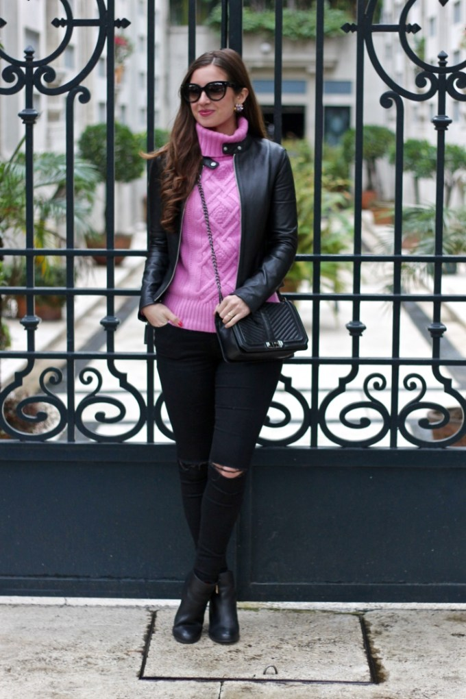 JCrew Cable knit pink sweater, black leather jacket, pink and black, La Mariposa Mexico