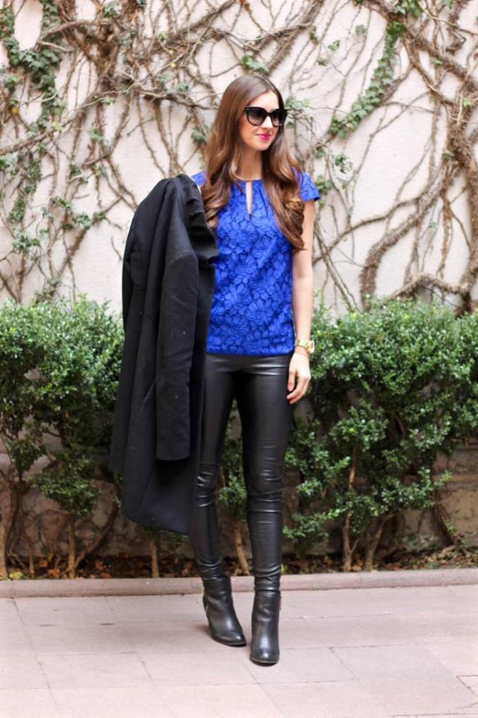 J.Crew Floral Lace Top in cobalt blue, J.Crew Uptown Dresscoat in Black, La Mariposa Fashion Blog Mexico City