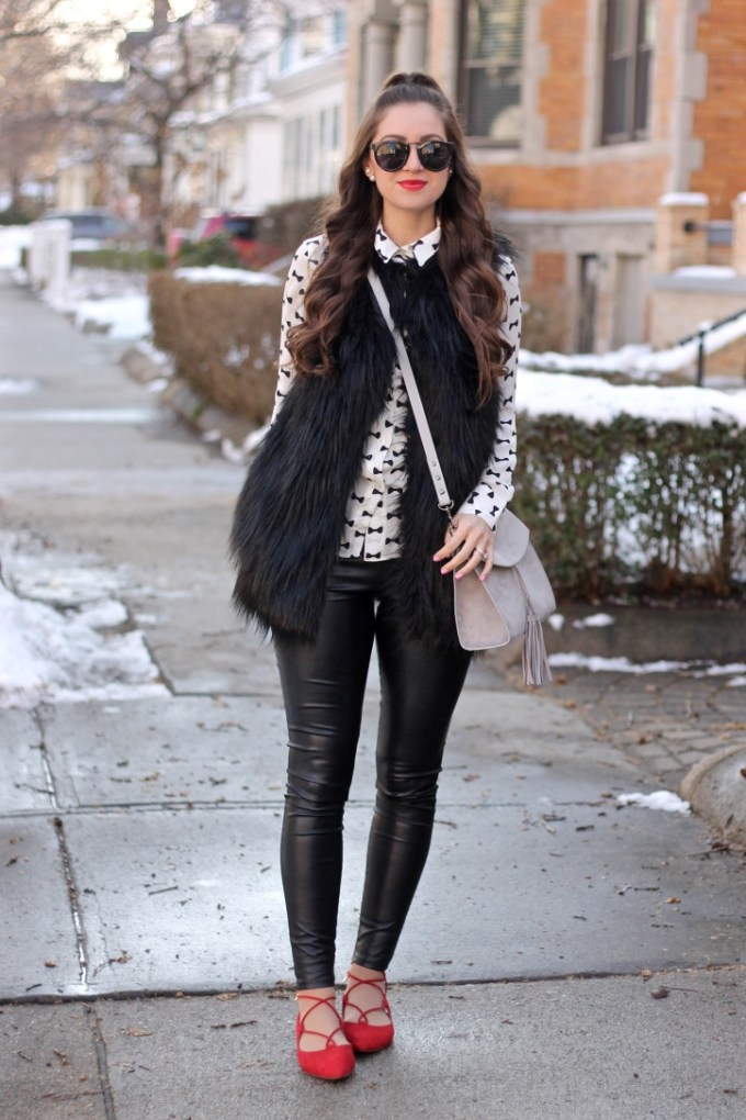 Black Fur Vest, Bow Pattern Blouse, Grey Suede Tassel Purse, Red lace-up flats