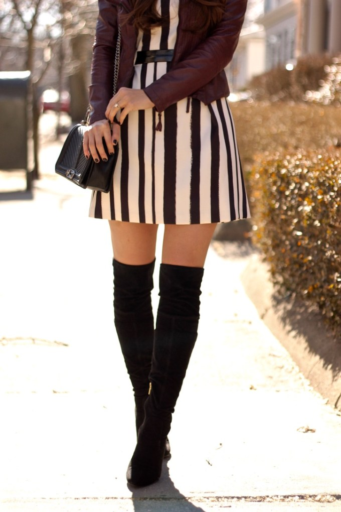Topshop striped dress, burgundy leather jacket, otk boots