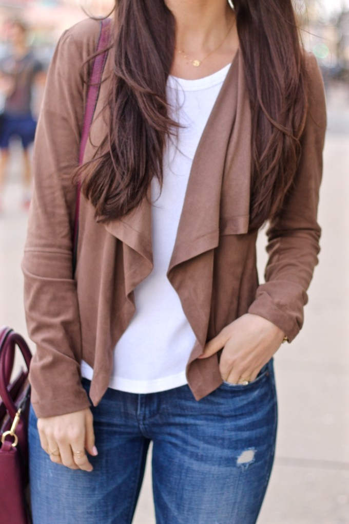 Suede Waterfall Blazer
