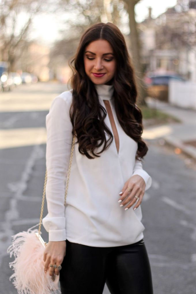 Finders Keepers Deep-V white date-night blouse