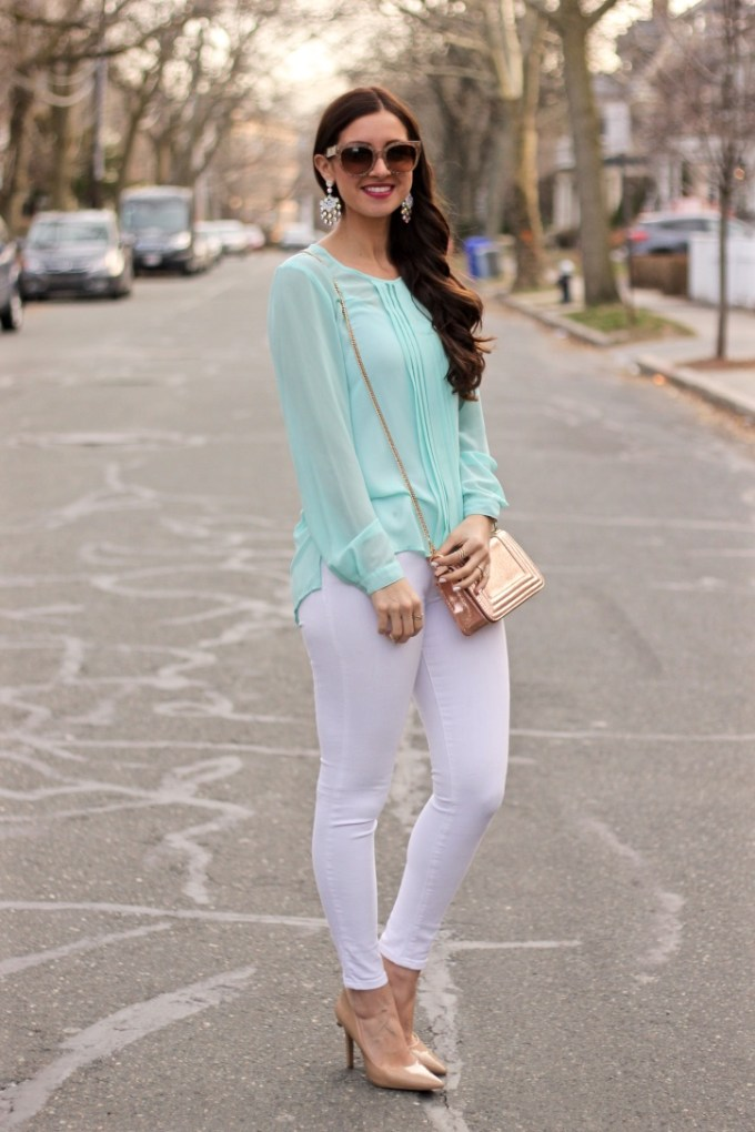 Aqua and white spring outfit, la mariposa blog