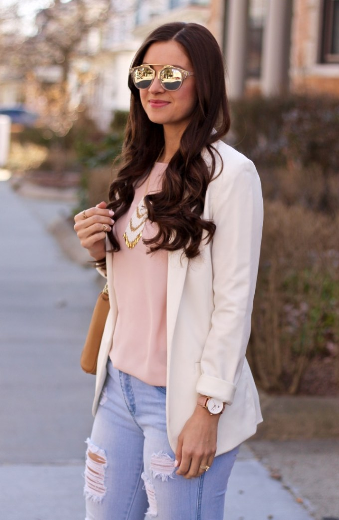 Spring Outfit Idea, Cream Blazer with Blush Top, Ripped Jeans