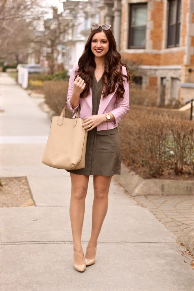 Baby Pink Leather Jacket, Olive Green Military Shirt Dress, Nude Charming Charlie Tote