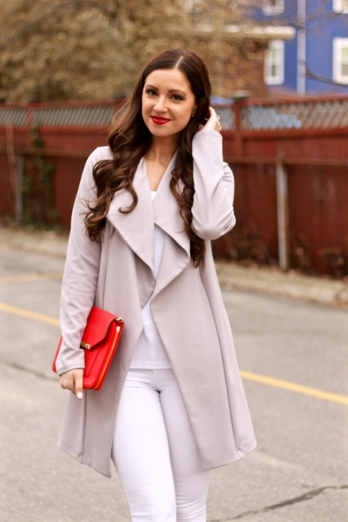 Asos Grey Crepe Waterfall Spring Jacket