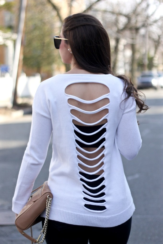 Express Slash Back Pullover Sweater in White