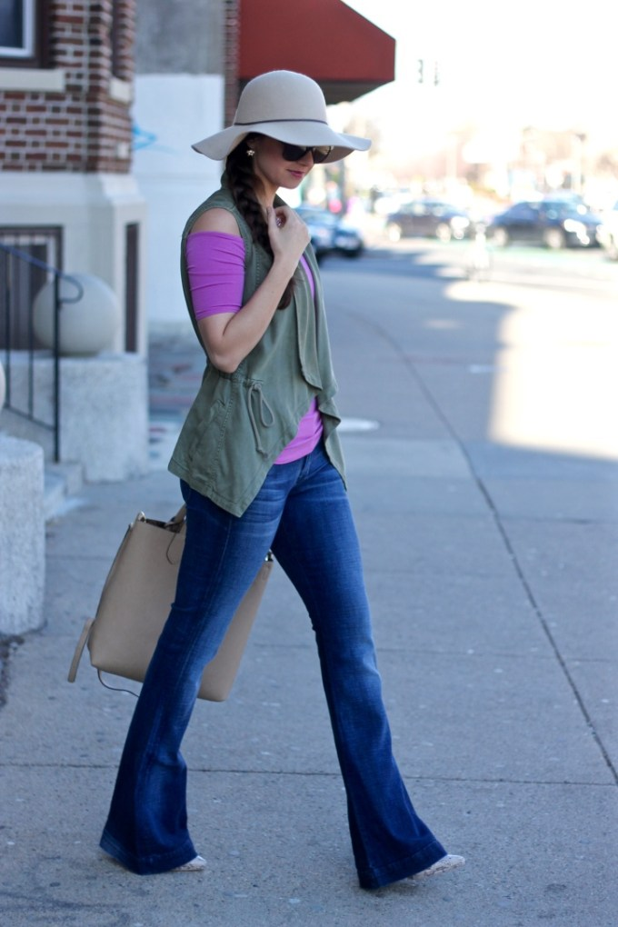 7FAM Flares, Green Military Vest, Styling Flared Jeans
