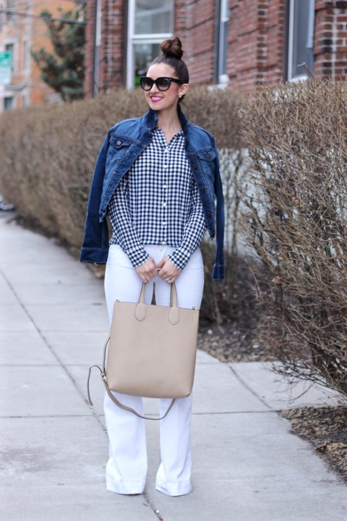 J.Crew Gingham Shirt & White Paige Super Flare Jeans