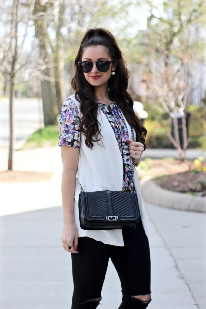 Floral Crop top, White Sleeveless Blazer, and High Half Pony Tail