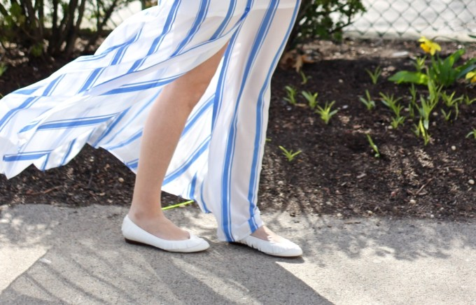 Express Blue Stripe Shirt Maxi Dress