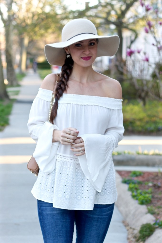 Off the shoulder bardot top