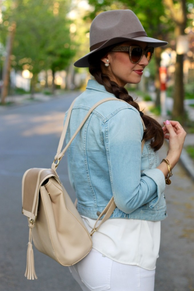 Neutral Leather Backpack