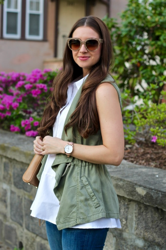 La Mariposa Spring Style: Olive Green Military Vest and White Button Down