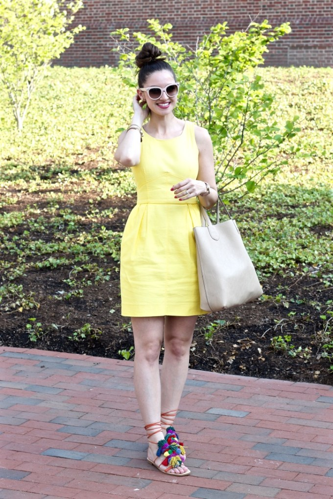 La Mariposa Summer Style: Yellow Sundress, Zara Pompom Leather Sandals, Colorful Tassel Lace-up Sandals