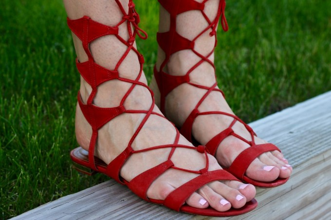 Schutz Lace-up red Erlina Sandals