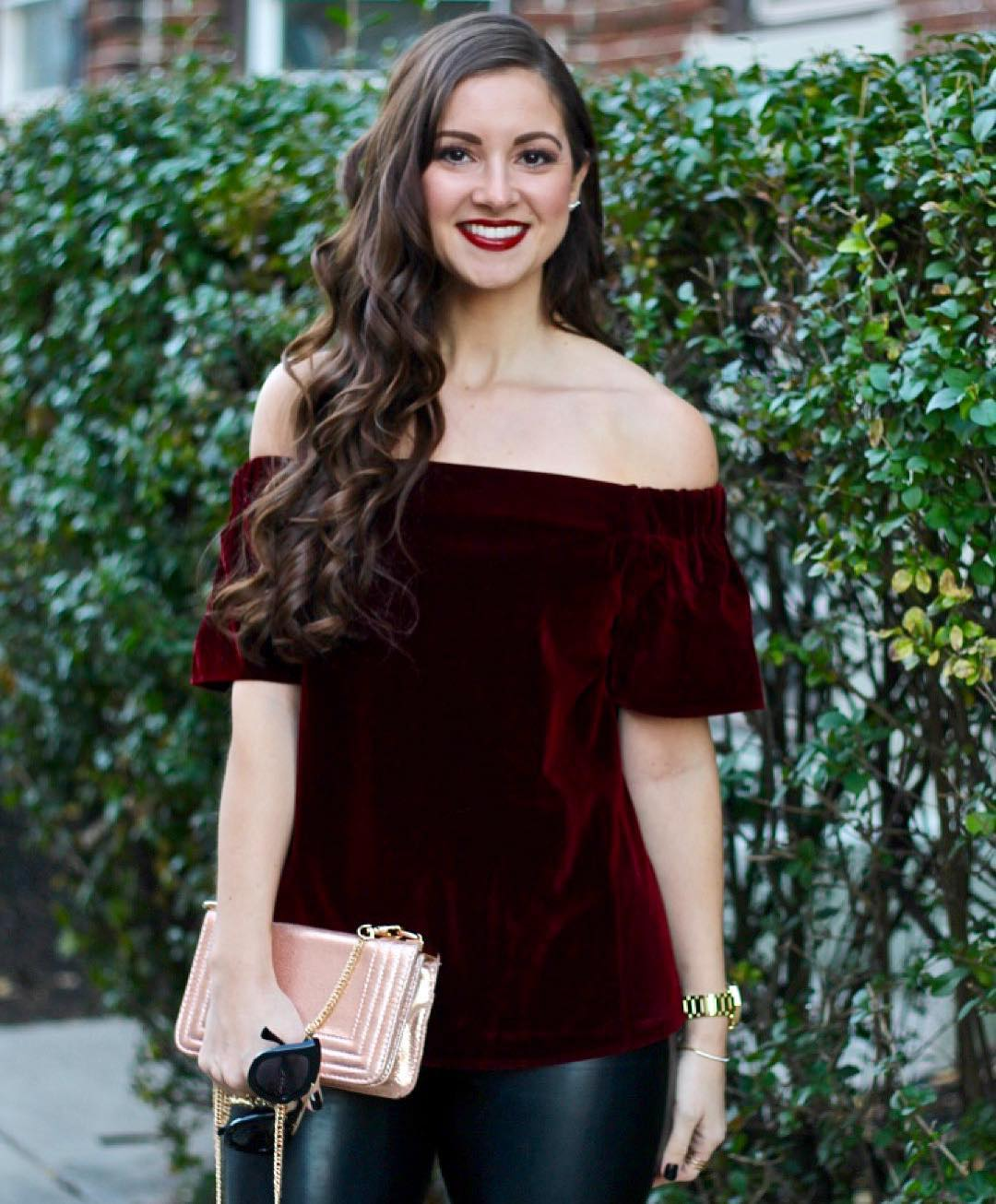 Ready for the holidays in this glam velvet top! Shophellip